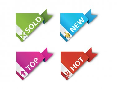 Corner ribbons - Sign-Symbol-Vector - New,Sold,Hot,Sale