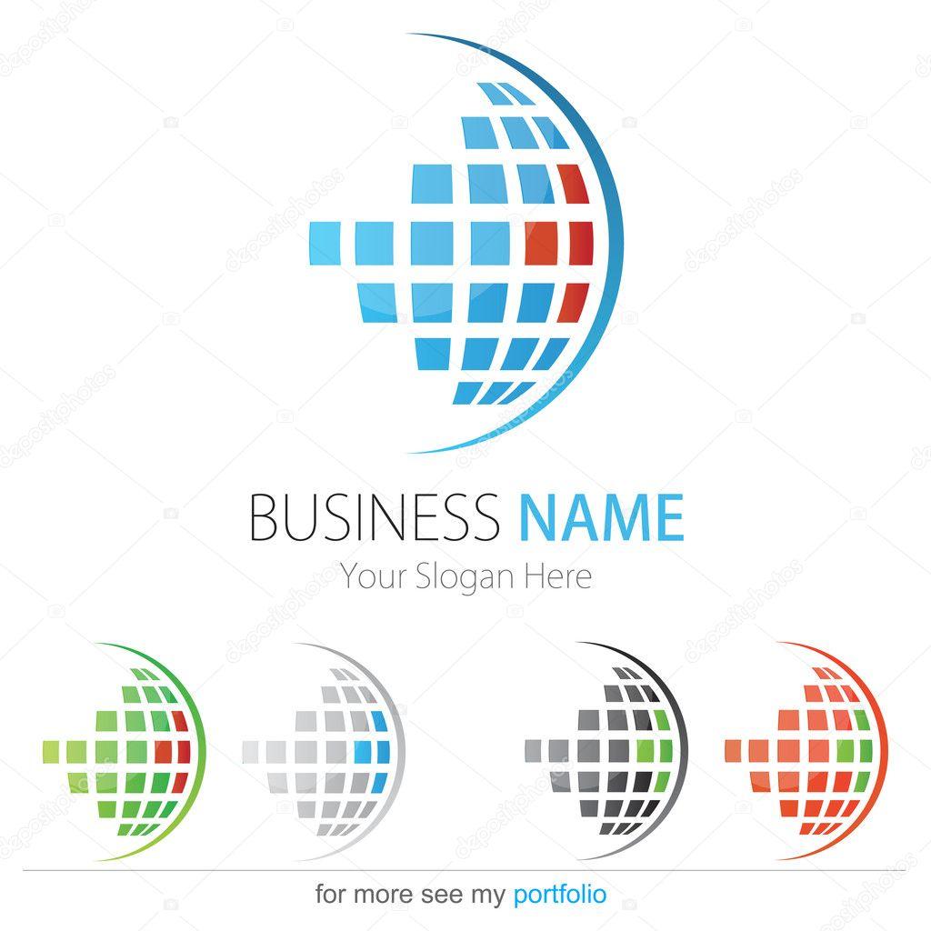 Company (Business) Logo Design, Vector, Circle, Cubes, Globe
