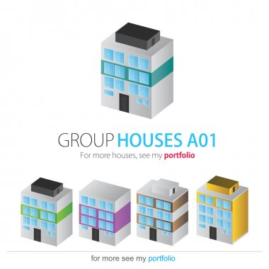 Houses Group, Set, Vector