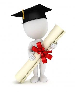 3d white graduate