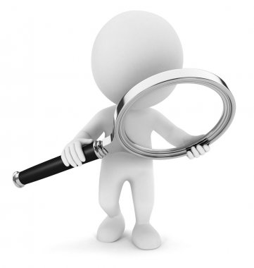 3d white with a magnifying glass