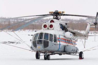 NORILSK, RUSSIA - MARCH 31: The helicopter