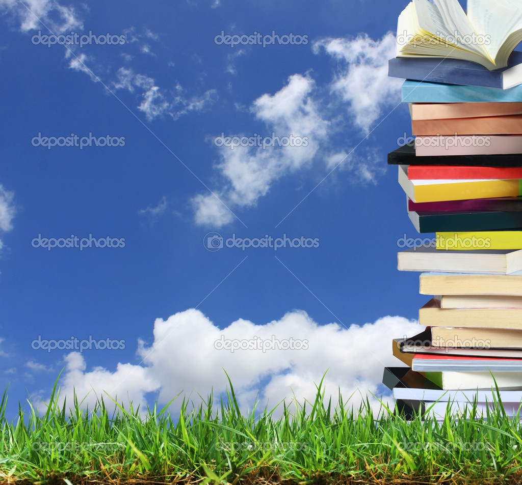 Stack of books in the garden