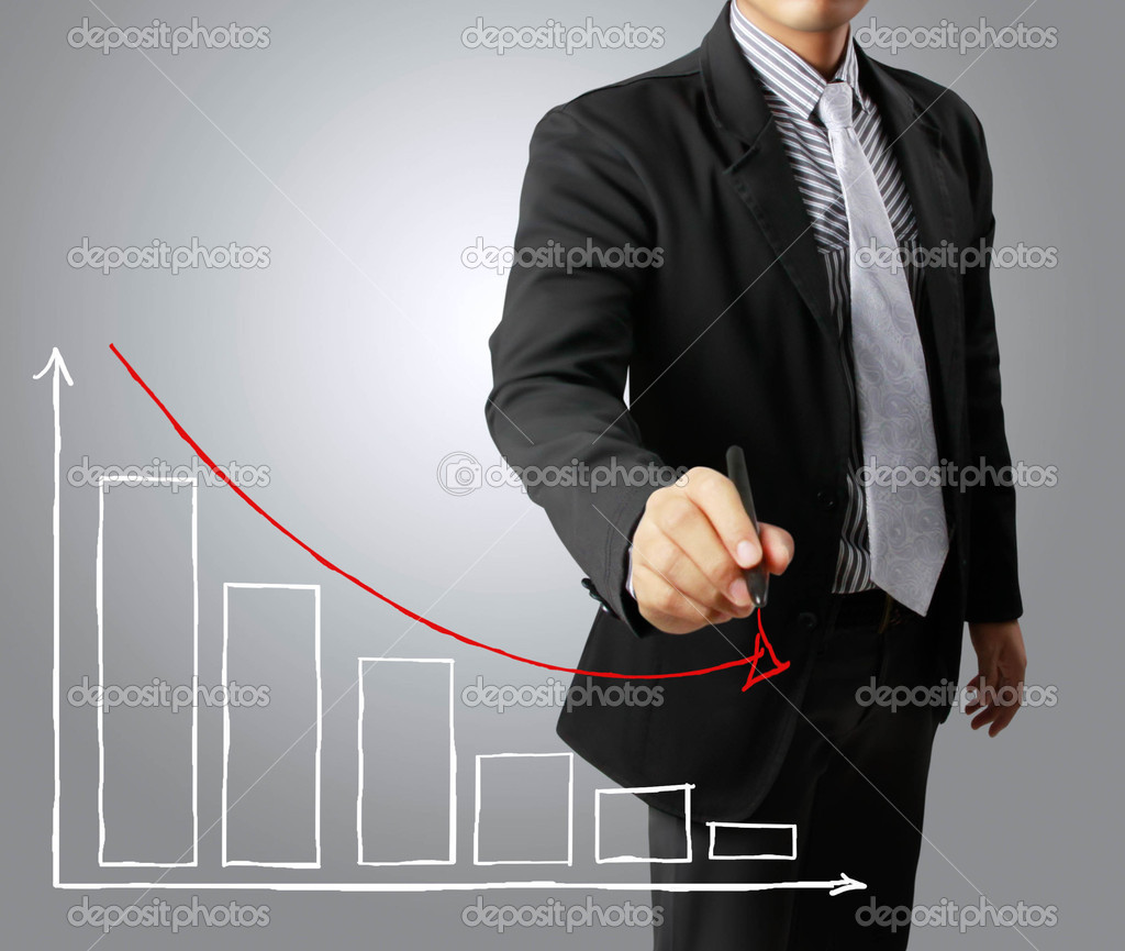 Business men hand drawing a graph Crisis