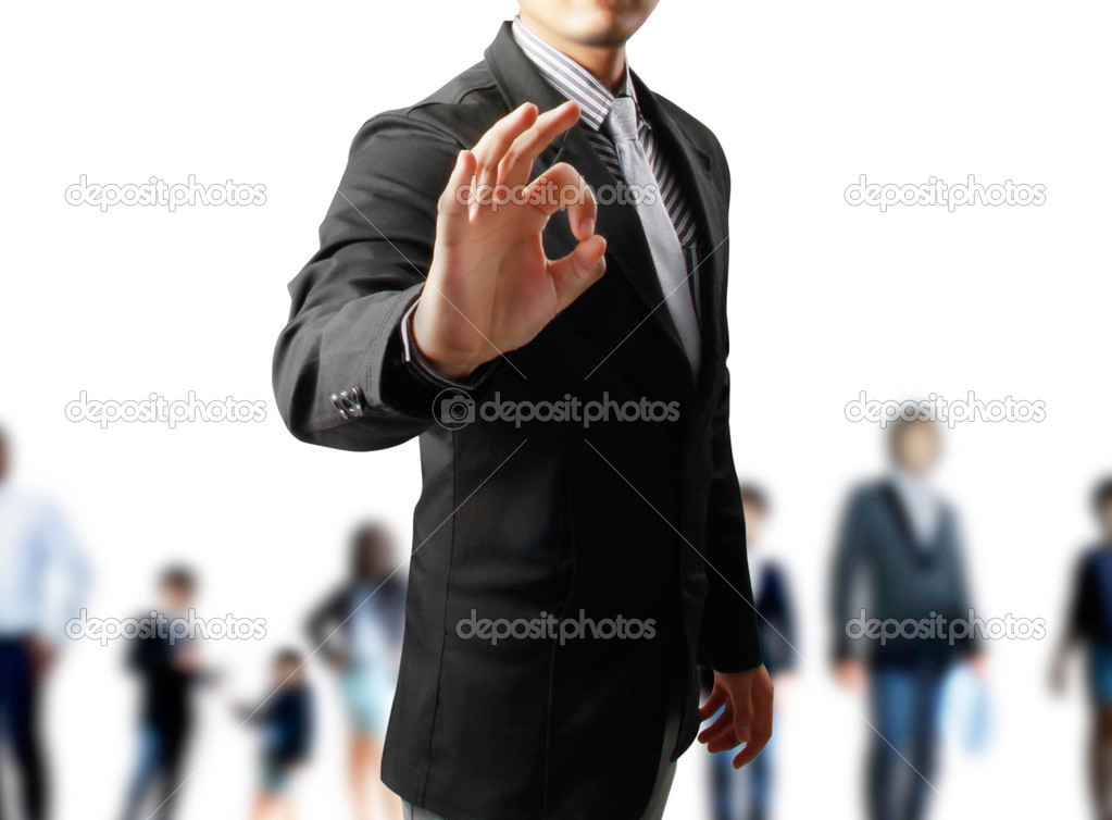Business man's hand make OK isolated on white background