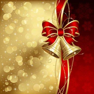 Elegant christmas background with golden bells