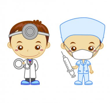 A doctor and a nurse isolated on white background. Kids and Jobs series: you can find other jobs in my portfolio. Eps file available. clip art vector