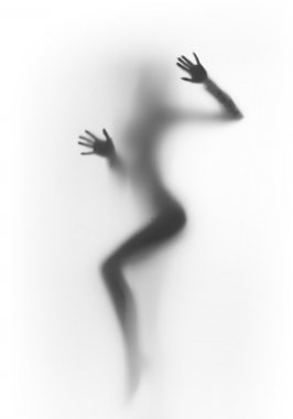 Diffuse sexy woman silhouette, hands
