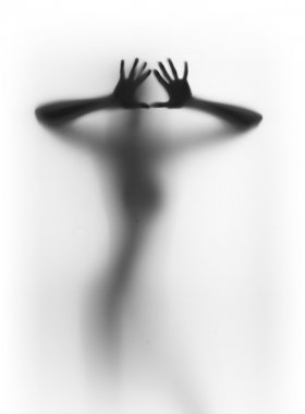 Diffuse human female silhouette, hands, fingers