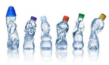 Empty used plastic bottles
