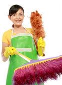 Fotografie žena s čištěním sweep