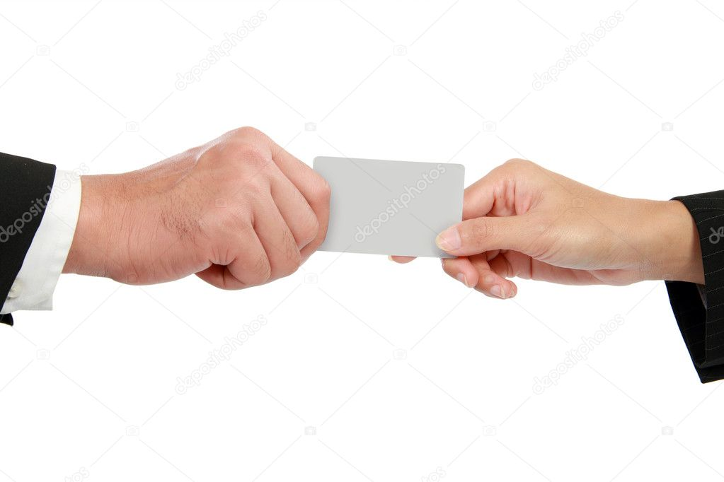 Hand giving a business card — Stock Photo © odua #11145703