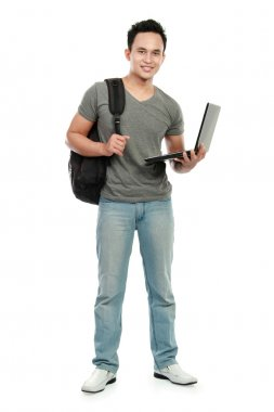 College student with laptop isolated on white background