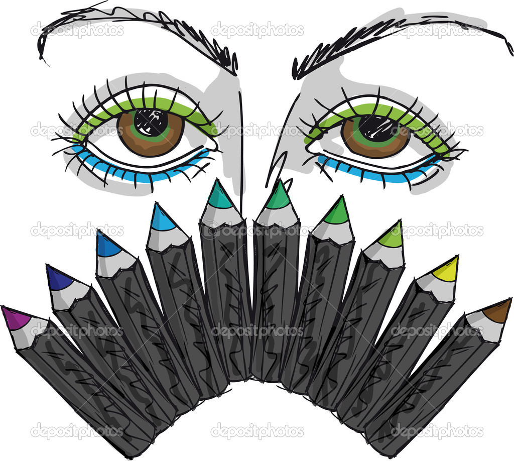 Sketch of Cartoon Eyes and Professional eye liner. Vector illust