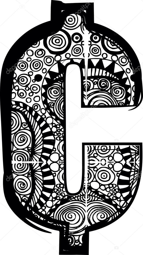 Cent Symbol With Abstract Drawing Vector Illustration Stock