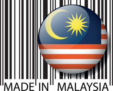 Made in Malaysia barcode. Vector illustration