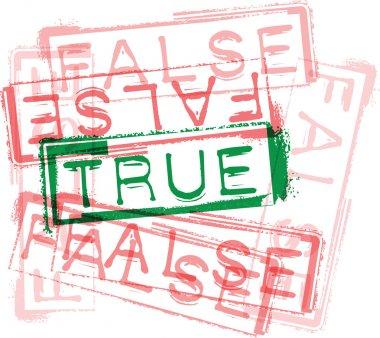 TRUE / FALSE rubber stamp print. Vector illustration