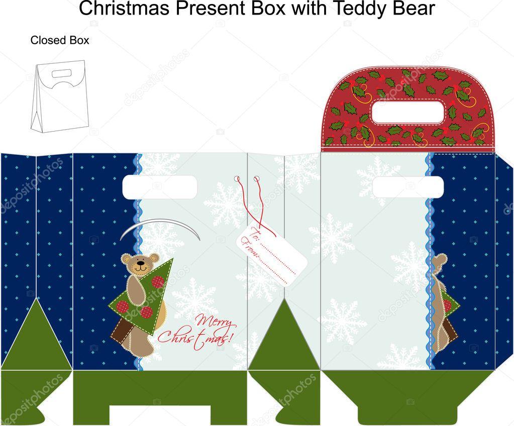 Vorlage Weihnachten Geschenk-Box mit Teddybär — Stockvektor ...