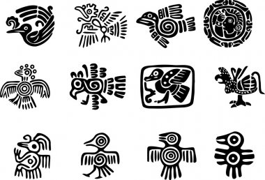 Mexican and maya glyph