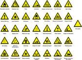 různé symboly nebezpečnosti