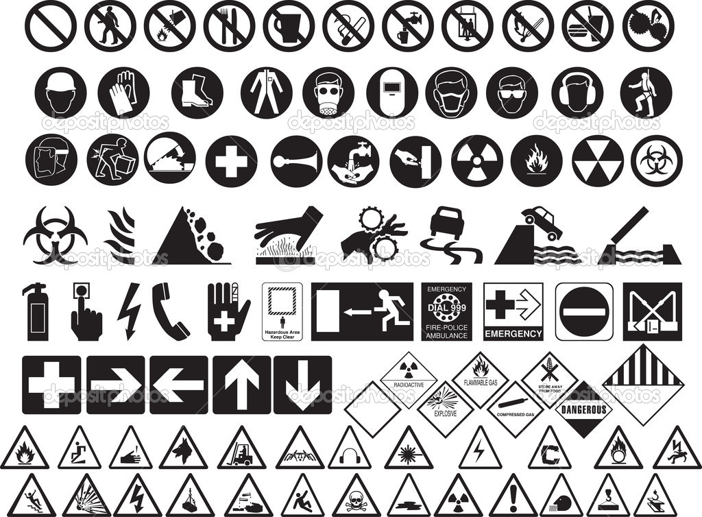Various Hazard Symbols Stock Vector Morrmota 11084304