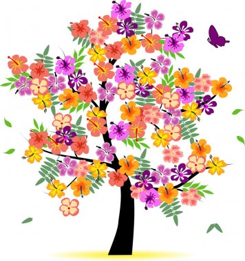 Four season tree with colorful leafs clip art vector