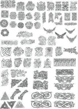 Set of Celtic style decor elements