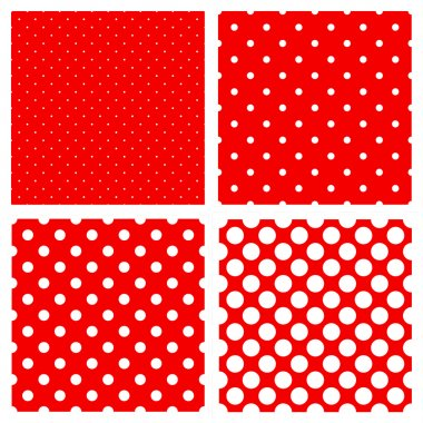 White polka dots pattern on red