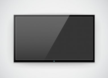 Black LCD or LED tv screen hanging on a wall background stock vector