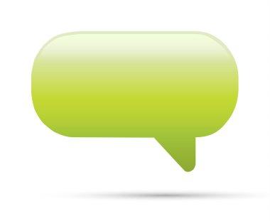 Green glassy empty speech bubble web button