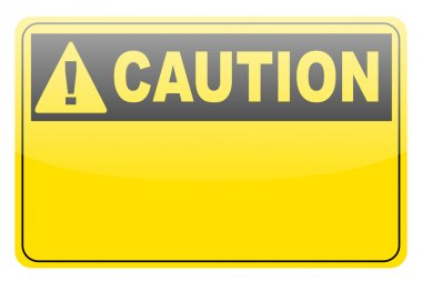 Blank yellow caution label sign
