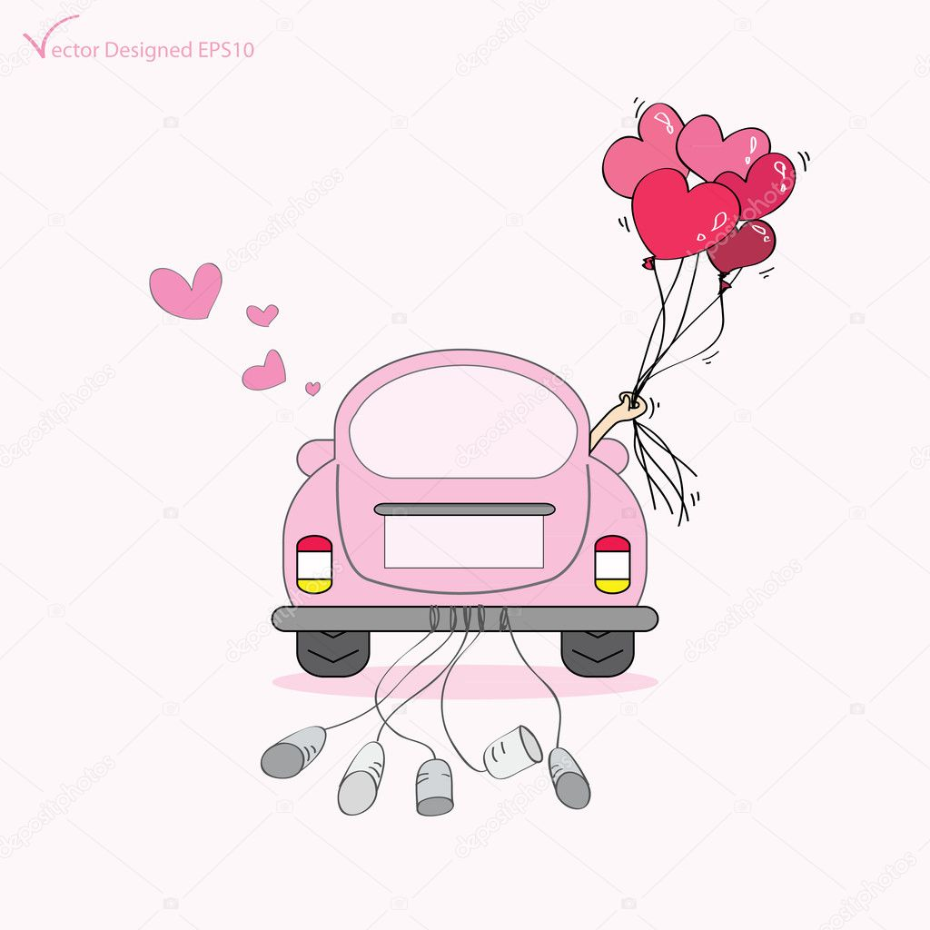 Just Married On Car Driving To Their Honeymoon Stock Vector