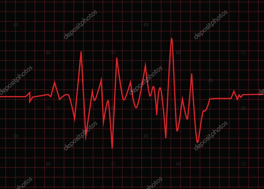 Diagrama de latido de corazón rojo — Archivo Imágenes Vectoriales ...