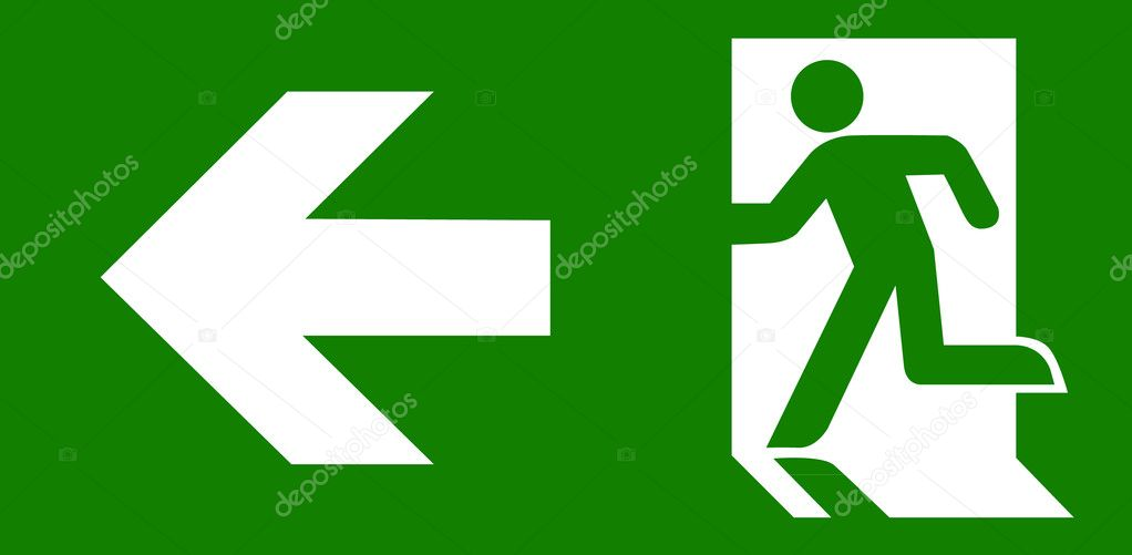 green emergency exit sign stock vector pockygallery 11947639