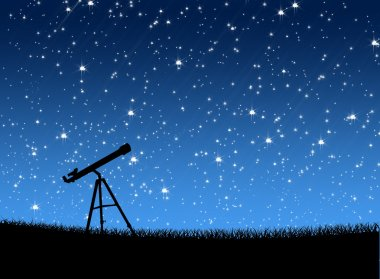 Telescope on the grass Under the Stars