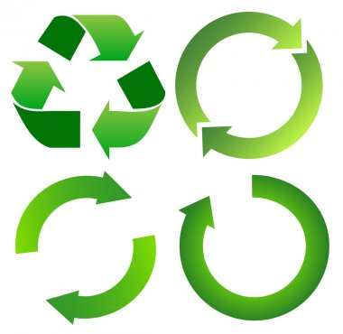 Set of green recycle arrow