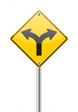 Fork in the road sign