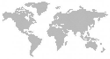 Dotted world map on white stock vector