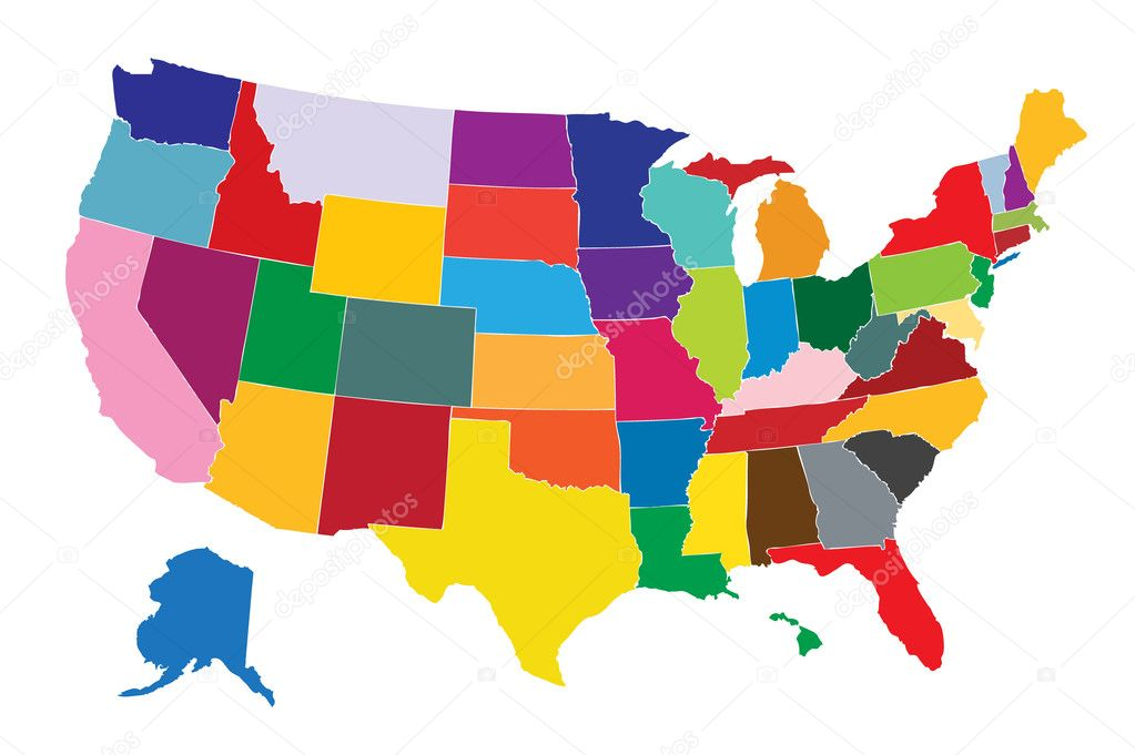 Colorful Usa Map \u2014 Stock Vector © Pockygallery 12127908: Colorful Usa Map At Infoasik.co