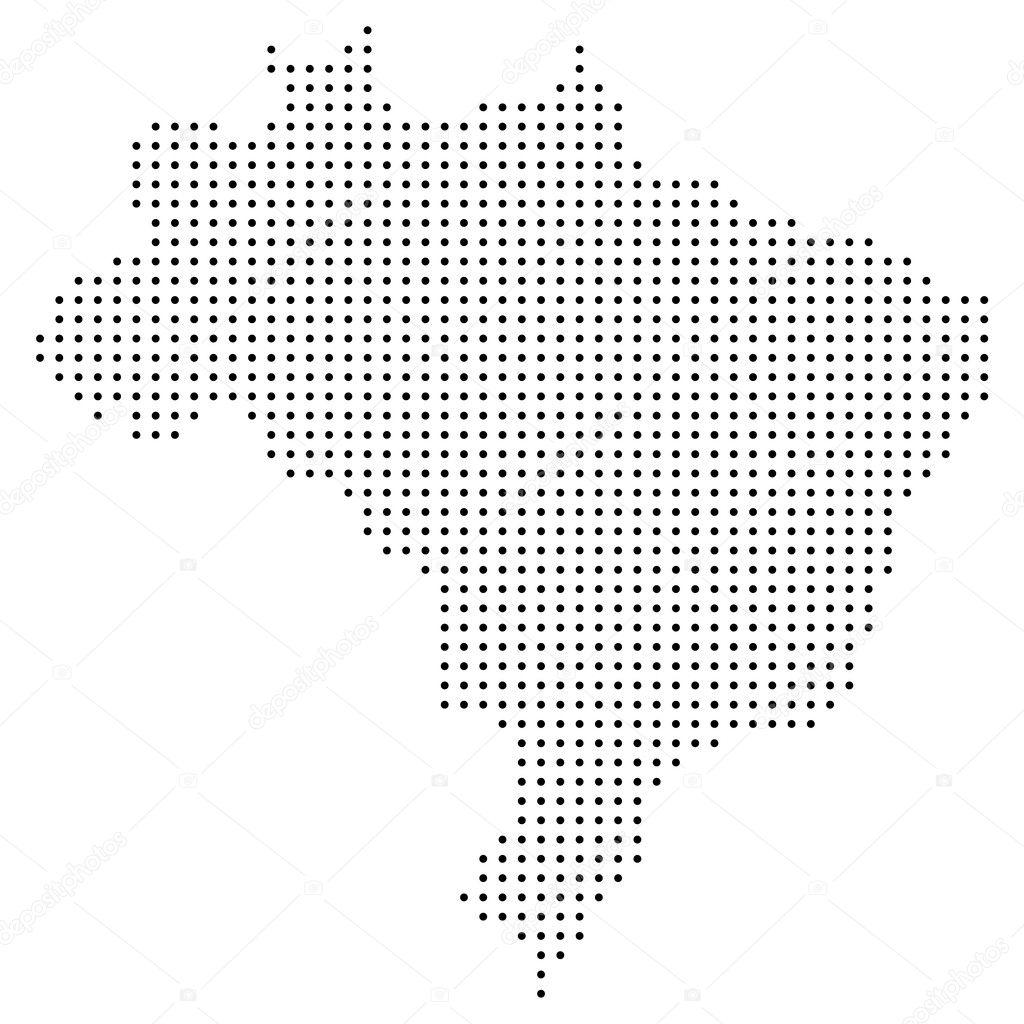 Dotted Brazil Map Stock Vector Pockygallery - Brazil map illustration