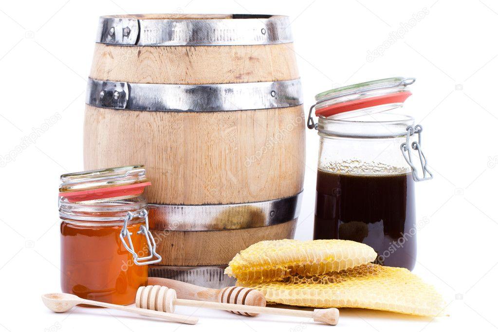 Honey jar and barrel