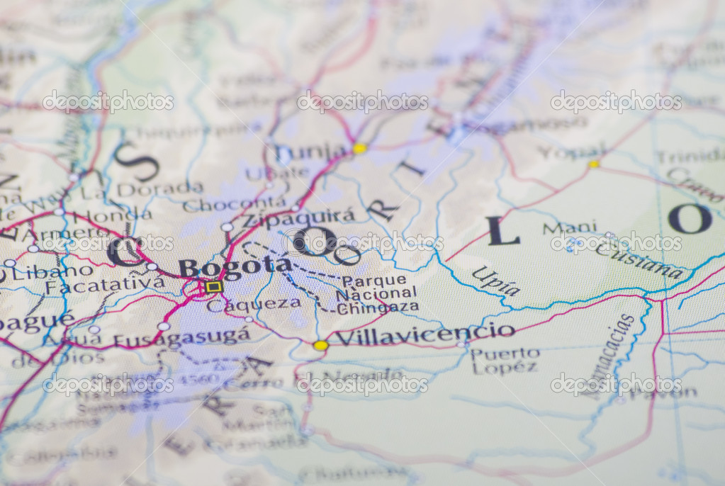 Close up of Bogota, Colombia on map — Stock Photo © Danieloncarevic ...