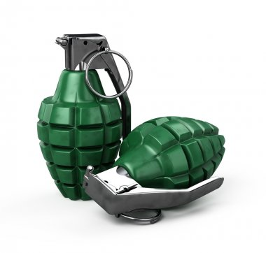 Two mk-2 hand grenade isolated on white - 3d render stock vector