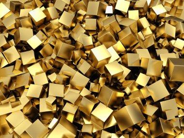 Golden cubes background