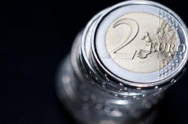 Two euros coins macro