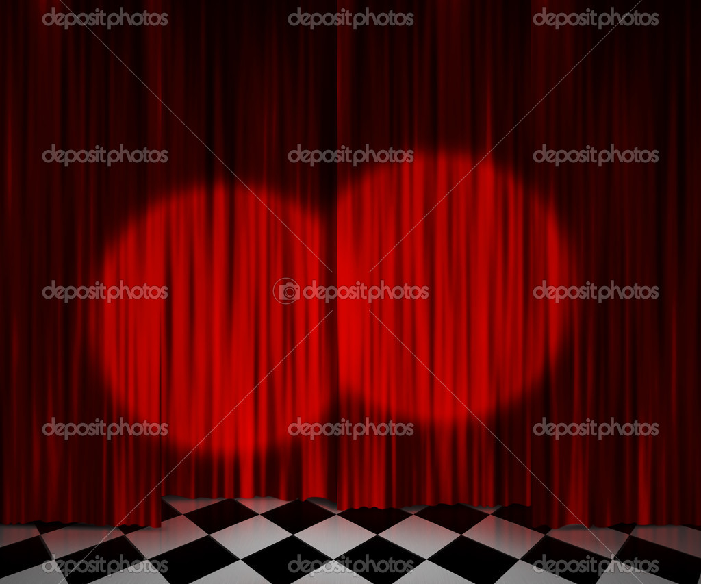 Stage curtains spotlight - Red Curtain Spotlight Stage Background Stock Photo 10957948
