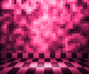 Pink Chessboard Mosaic Room Background