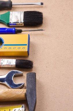 Tools on wood floor
