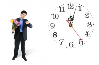 Clock and waiting man