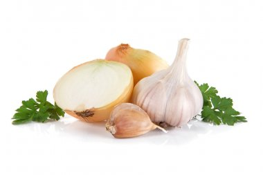 Garlic, onion and green parsley isolated on white
